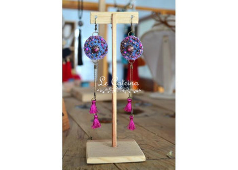 Magenta denim earrings - Le Catrina