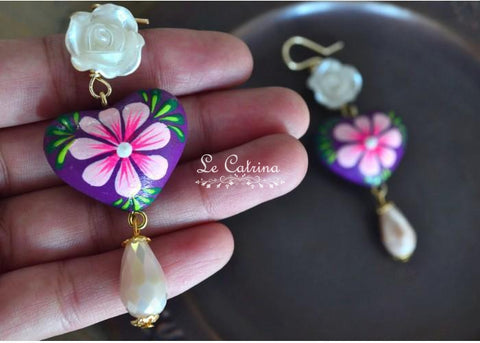 Earrings flower and heart - Le Catrina