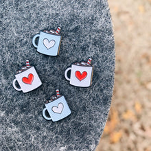 Load image into Gallery viewer, Tiny cute heart hot chocolate mug enamel pins