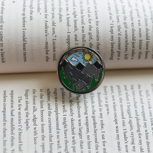 Sunny sky spinning enamel pin with mountains and forest details