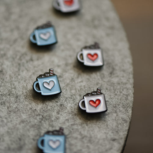 Tiny cute heart hot chocolate mug enamel pins