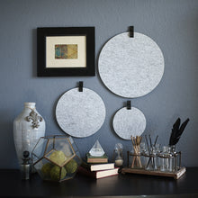 Load image into Gallery viewer, Three round gray felt boards with black tabs hanging on an office wall
