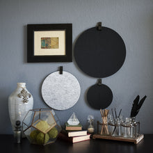 Load image into Gallery viewer, Three round felt boards for organization with black tabs hanging on a cozy wall