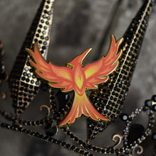 Load image into Gallery viewer, Mockingjay with red orange and yellow flame details enamel pin