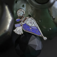 Load image into Gallery viewer, Purple and silver ornate potion bottle enamel pin with a tag that says Reader Tears