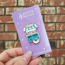 Load image into Gallery viewer, Girl holding a kawaii pastel book shop vendor cart hard enamel pin