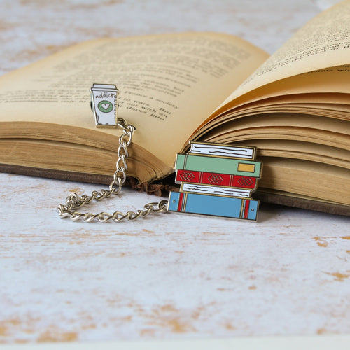 Books and Coffee hard enamel pin