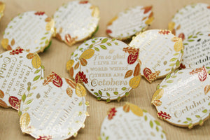 Pretty round white enamel pin with a fall leaf border