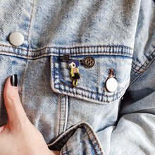 Load image into Gallery viewer, Coraline doll hanging from a button key lapel enamel pin