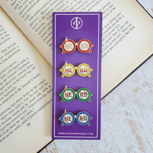 Wizardry and witchcraft house colors nerd glasses red blue green yellow enamel pins