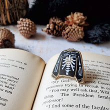 Load image into Gallery viewer, Skeleton sweater witchy enamel pin for halloween or cosplay costumes
