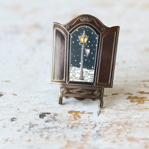 The lion the witch and the wardrobe snowy lantern in the wardrobe narnian enamel pin