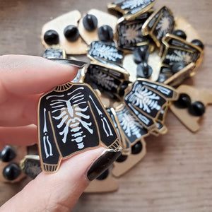 Skeleton sweater witchy enamel pin for halloween or cosplay costumes