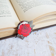 Load image into Gallery viewer, Rose and clock night circus enamel pin