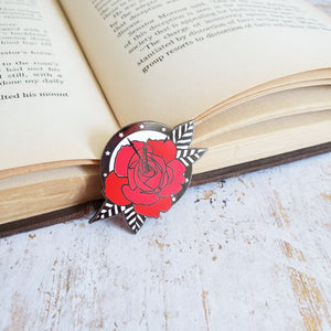Rose and clock night circus enamel pin