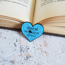 Load image into Gallery viewer, Shatter me glass heart ignite my love bookish enamel pin