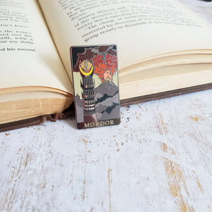 Literary landscapes Eye of Mordor ring wraith mountain of doom color changing enamel pin