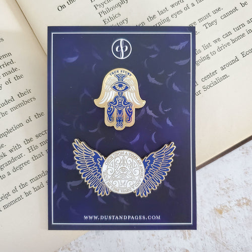 Daughter of Smoke and Bone gold enamel pin set hamsa and angel wings