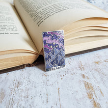 Load image into Gallery viewer, Starry mountain landscape velaris a court of mist and fury inspired enamel pin