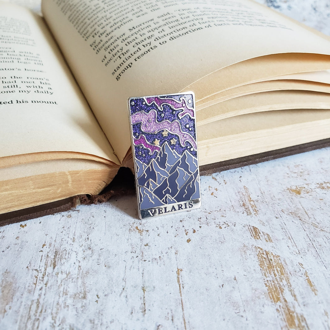Starry mountain landscape velaris a court of mist and fury inspired enamel pin