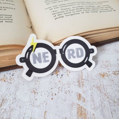 Wizardry and witchcraft magic boy black nerd glasses waterproof vinyl sticker