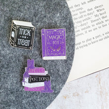 Load image into Gallery viewer, Set of purple halloween spellbooks magic jinxes and potion enamel pin