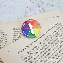Load image into Gallery viewer, Rainbow LGBTQ+ genre picker for indecisive readers spinner enamel pin