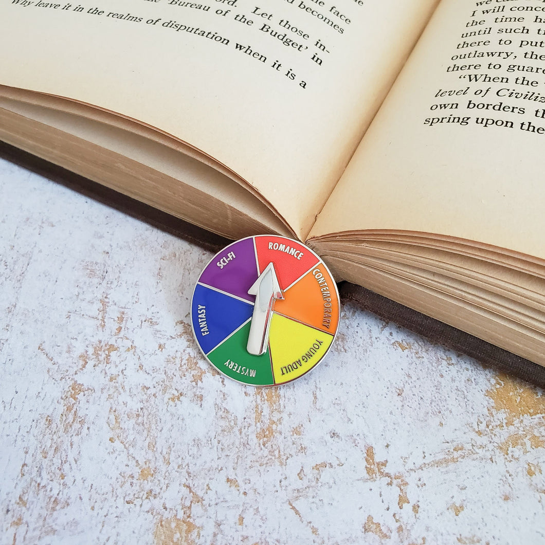 Rainbow LGBTQ+ genre picker for indecisive readers spinner enamel pin
