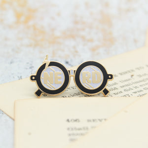 Wizardry and witchcraft magic boy black nerd glasses enamel pins