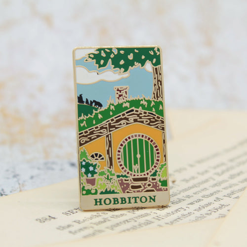Hobbit hole green door fellowship adventure gold enamel pin