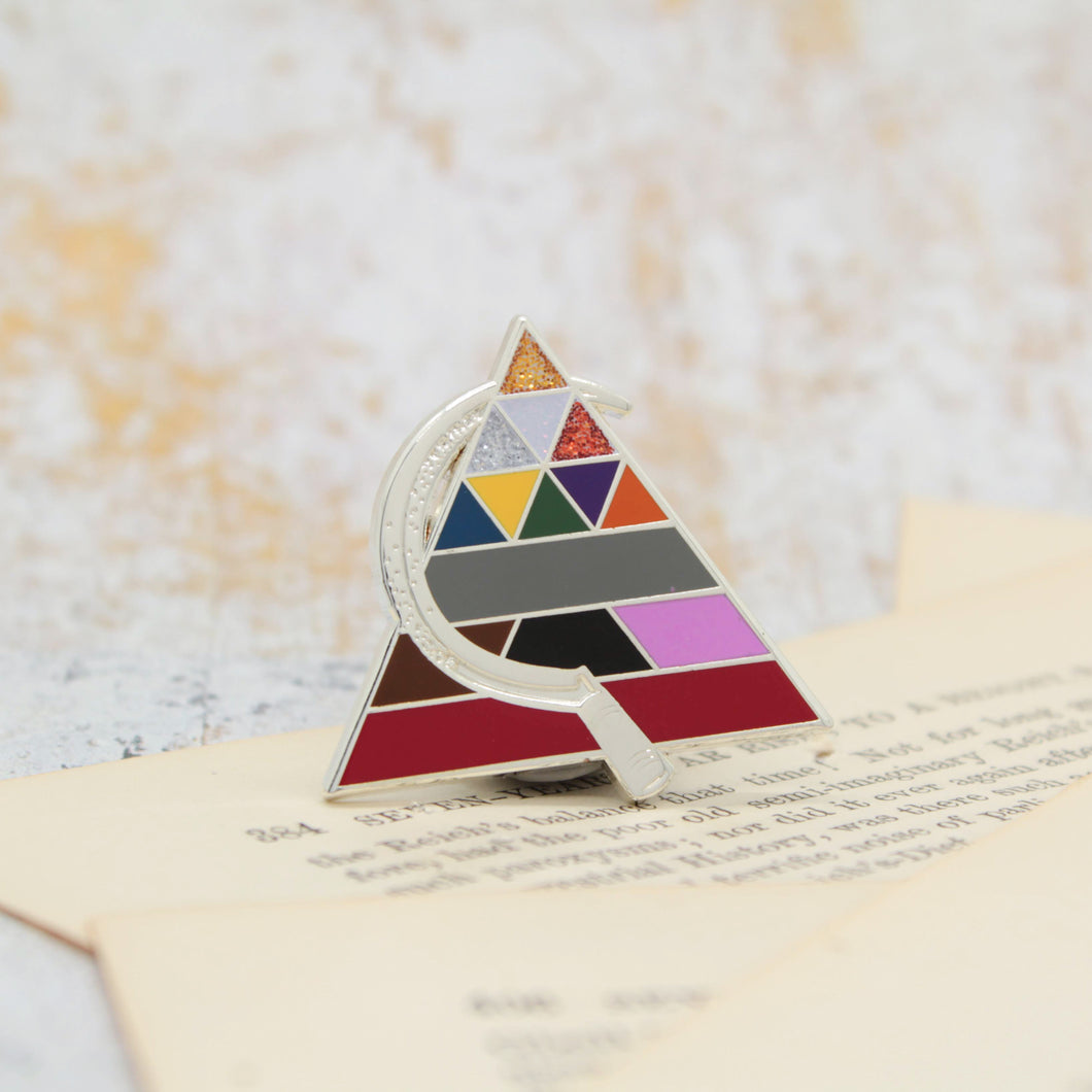Pyramid of colors red gold scythe howlers enamel pin