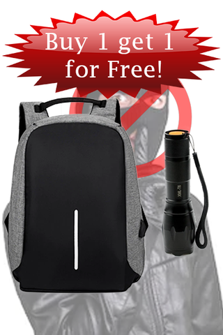 Anti Theft Bag - Rechargeable Flash Light - Bundle Deal
