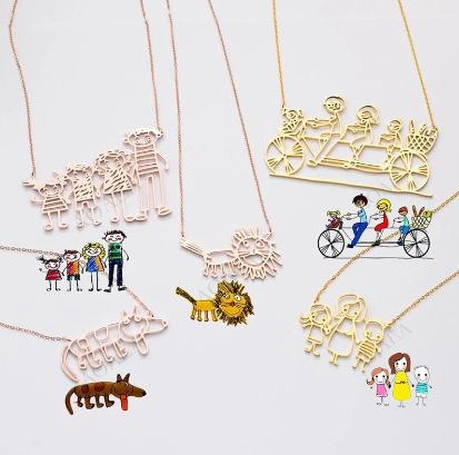 Actual Kids Drawing Necklace -  Children Artwork Necklace