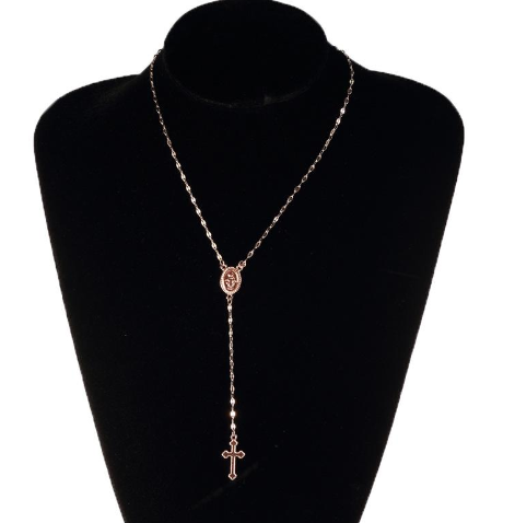 Cross Pendant Necklace - Rosary Necklace
