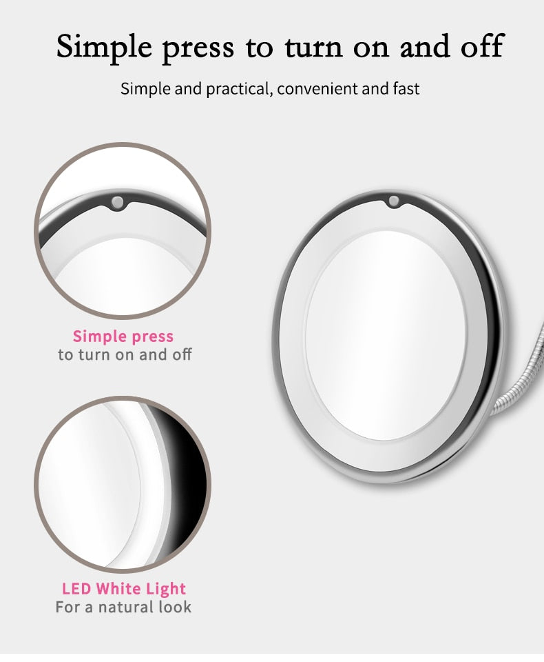 Flexible 10X LED Makeup Magnifying Mirror
