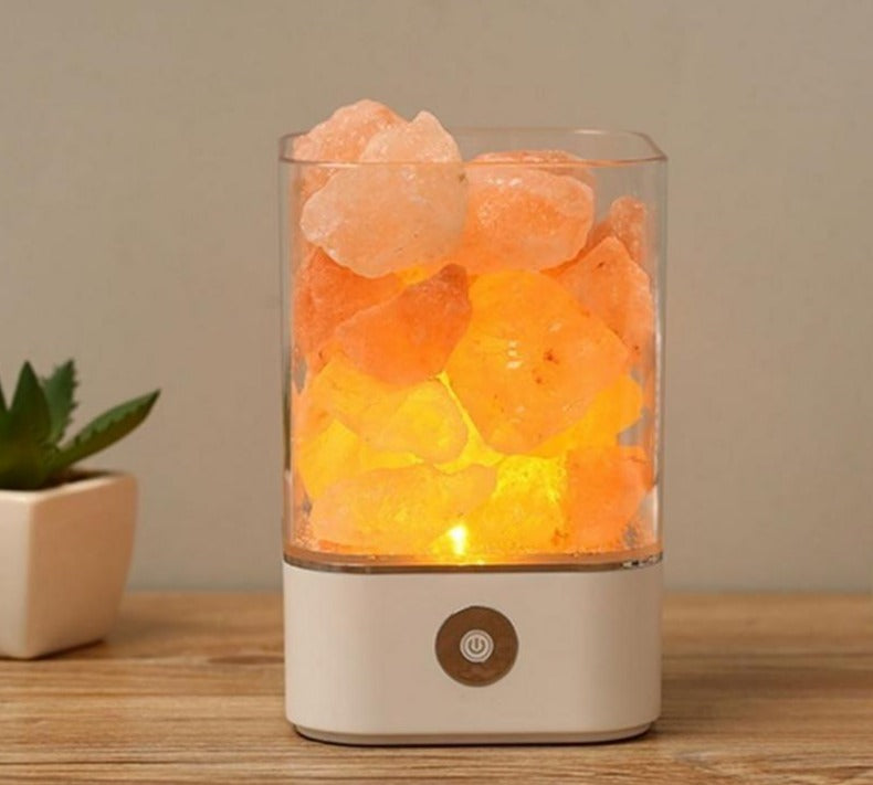 Crystal Natural Himalayan Salt Lamp - USB Led Multicolor Night Light Table