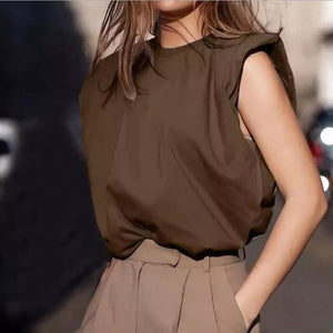 Shoulder Pad Women Tops Tee Sleeveless