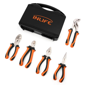 Inlife 01 5pcs Pliers Basic Combination Homeowners Tools with Portable Case