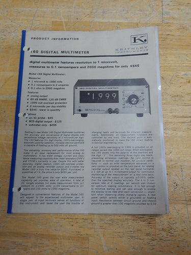 Keithley 160 Digital Multimeter Product Information Manual