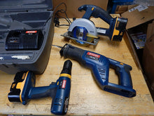 Load image into Gallery viewer, Ryobi Circular Saw, Drill, Reciprocating Saw, Flashlight, Charger Set