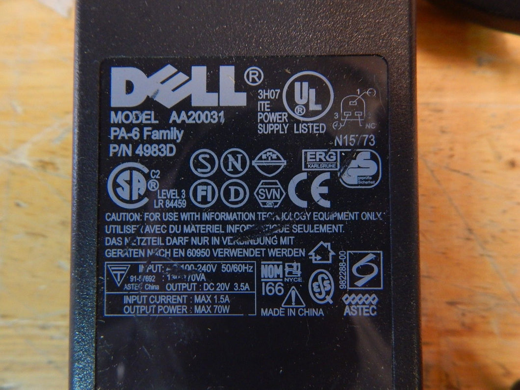 Dell Charger For Inspiron 1100 5100 8000 PA-6 Family AA20031 70W