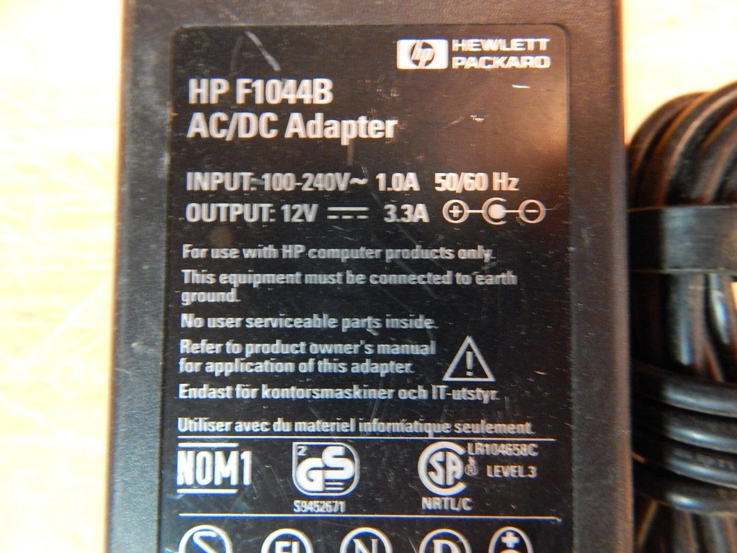 HP F1044B AC/DC Adapter Power Supply 12VDC 3.3A Output 100-140VAC Input