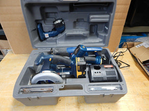 Ryobi Circular Saw, Drill, Reciprocating Saw, Flashlight, Charger Set