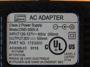 Skynet (DND-3005-A) 30V 500mA 60Hz AC Adapter Power Supply Charger