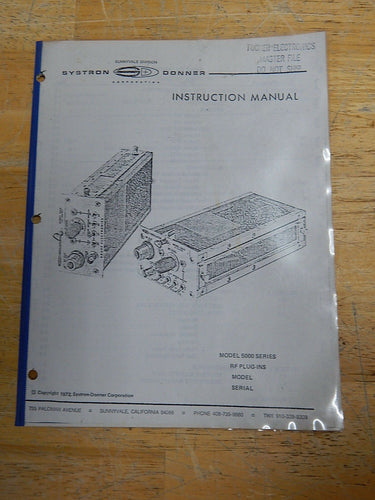 Systron-Donner 5000 Series RF Plug-ins Instruction Manual