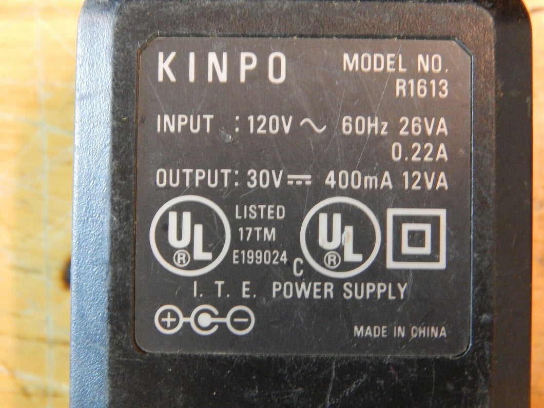 Kinpo R1613 AC Adapter 30vdc 400ma .4a HP 600 & Apollo