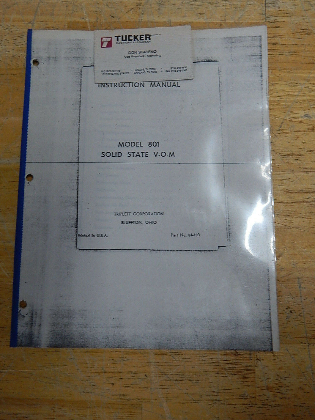 Triplett Model 801 Solid State V-O-M Instruction Manual