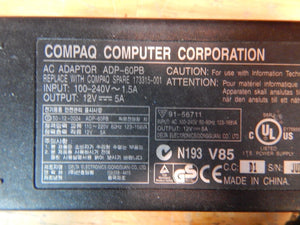 Compaq Computer Ultra Slim ADP-60PB 12V 5A OUTPUT/ SPARE 173315-001 Power Supply
