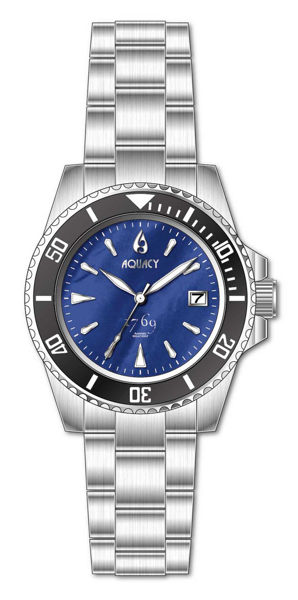 Aquacy 1769 Series Diver Watch with Blue Mother Of Pearl Dial