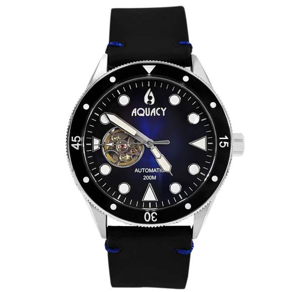 Aquacy Hei Matau Cave Diver Open Heart Men's Automatic 200M Vintage Blue Black Dive Watch CD.38.BLB.B.L